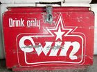 Vintage Old Collectible Tin Ice Box Win Cold Drink Ice Box