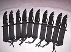 10 BLACK Survival knives With BLACK Sheath hunting fishing Camping Bug Out NEW