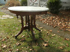 BEAUTIFUL OVAL ANTIQUE VICTORIAN MARBLE  PARLOUR TABLE W/AMAZING CARVED BASE