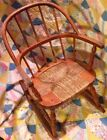 VTG Windsor-Style Childs MED WOOD ROCKING CHAIR Bow Back w Rush Seat