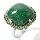 Rarities: Fine Jewelry Carol Brodie Green Aventurine & Tsavorite Ring 6 New