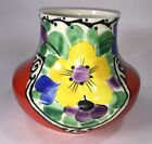 Antique Ditmar Urbach Czech Pottery Vase With Flowers Art Deco Pottery