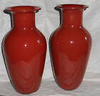 Pair Barovier  Toso Murano Sommerso Glass Vases Coral Mauve Sang de Boeuf Color