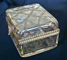 Antique MURANO MOSER ENAMELED GLASS TRINKET BOX HINGED LID ORMOLU  SIGNED