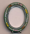 c1940 Small Italian Mosaic Oval Floral Picture Frame, Easel Made in Italy