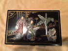 Vtg Japanese Black Lacquered Scenic Dancing women Carved Gemstone Jewelry Box
