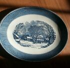 Currier and Ives Winter Town Scene Oval Platter