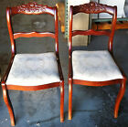 Pair of Vintage Empire Rose Carved Saber Leg Chairs Upholstered