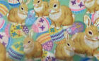 sewing quilting cotton tan bunny rabbits with easter eggs 1 yard fabric