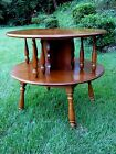HEYWOOD WAKEFIELD ~  SIDE TABLE ~ MAPLE ROUND LARGE TWO TIER END ~ MID CENTURY