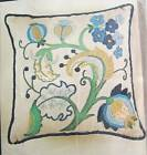 Vtg 60s Green/Blue JACOBEAN PILLOW Crewel Embroidery Kit Erica Wilson CM