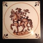 Fine Vintage MOSA Hand Painted Tile Warrior On Horse Bird Holland BEAUTIFUL Art