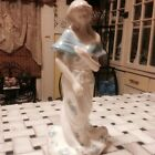 Vintage Porcelain/Glass Woman -  Blue Roses & Tulips Figurine Lovely 8 1/2 Tall