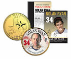 NOLAN RYAN * Hall of Fame * Legends Colorized Texas Quarter 24K Gold Plated Coin