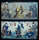 2 VERY FINE ANTIQUE JAPANESE MEIJI TRIPTYCH FIGURAL SCENIC WOODBLOCK PRINTS