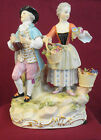 Antique Meissen Porcelain Figurine of a Lady (Flowers) & Gentlemen (Wine Jug)