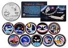 SPACE SHUTTLE CHALLENGER MISSIONS Colorized Florida Quarters US 10 Coin Set NASA