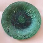 Antique Green Majolica Plate with Grape Vine and Grapes 19th c. Victorian Wardle