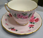 VINTAGE  COLCLOUGH CUP & SAUCER, 1950s to 1970s, RIDGEWAY, PINK ROSES