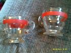 Vintage Sugar Bowl & Creamer--Clear with Red & Gold Band