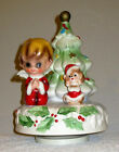 Rare 1960s Josef Original Christmas Music Box Boy Angel & Dog Plays Silent Night