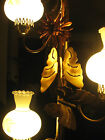 MID CENTURY MODERN POLE TENSION BUTTERFLY LAMP SCALLOPED GLASS FLORAL GLOBES
