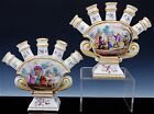 GORGEOUS PAIR GERMAN FRENCH FAIENCE POTTERY SCENIC ENAMELLED TULIP VASES  HOCHST