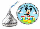 108 MICKEY MOUSE CLUBHOUSE BIRTHDAY PARTY FAVORS HERSHEY KISS LABELS w/backgrnd