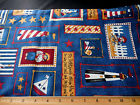 Cotton Fabric BTY Sailor Bear Party Children Daisy Kingdom Blue Red White Tan