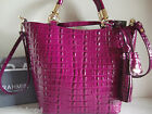 Brahmin Sweetheart Zinfandel La Scala Croc Embossed Leather Satchel Bag NWT