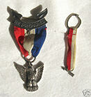 BSA Boy Scout Eagle Pin & Order of The Arrow Pin, both sterling & w ribbons/'50s