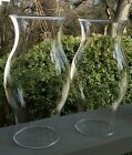 2 VINTAGE HURRICANE Clear Glass Oil Lamp Chimney Candle Shades