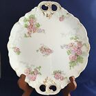 J Pouyat Limoges France Pink Floral Transferware Hostess Plate Serving Platter