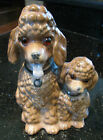 ANTIQUE POODLE DOGS MOTHER & PUP PORCELAIN CERAMIC FIGURINES