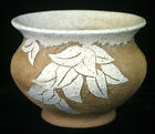 Art Pottery Vase Bowl Signed Smith Floral Design Speckled Glaze Brown County