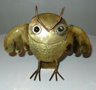 Hand Made Mexico Hammered Brass Copper Stone Owl Figurine/Statuette
