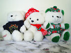 3 Vintage Kmart Collectible White Plush Christmas Bears - 1987, 1990, 1997