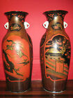 $15K PAIR MEIJI JAPAN CHINESE RED BLACK GOLD LACQUER PORCELAIN PALACE FLOOR VASE
