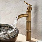 New Tall Antique Brass Bamboo Shape Basin Faucet Waterfall Sink Mixer Deck Mount