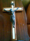 Antique Solid Bronze Crucifix Jesus Christ Corpus Wood Cellulose Cross