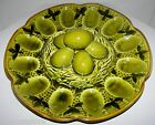 VTG Large Pottery Avocado Green Deviled Egg Plate Easter Platter with Egg Handle