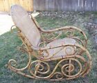 Vintage RATTAN BENTWOOD ROCKING CHAIR ROCKER Double Caned Seat