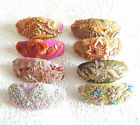 Handmade oval embroidered beaded hair barrette - 9 colors to choose from