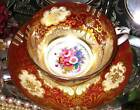 CUP & SAUCER * Ruby Gold & Pink Rose Floral Center Crown Staffordshire HP Teacup