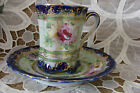 Hand Painted Gold Pink Blue Green Floral China Chocolate Cup and Saucer Unmarked