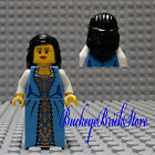 NEW Lego Pirate/Castle Black Hair FEMALE MINIFIG Blue Dress/Skirt Princess Girl