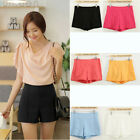 Sexy Women's Candy Colors Soild High Waist Slim Zip Casual Shorts Pants Trousers
