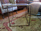 Vintage Hollywood Regency Faux Bamboo Metal Tole Gold Side Table