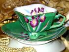 OCCUPIED JAPAN LIME TEACUP PURPLE IRIS FLORAL HAND PAINTED CUP AND SAUCER