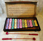 Vintage 1950's CRAGSTAN PORTABLE Musical Tin 12-Key Xylophone in Original Box